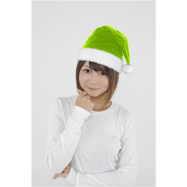 【クリスマスコスプレ】 サンタ帽子 【ライトグリーン】 頭囲約~60cm ポリエステル製 〔イベント 仮装 店頭販促〕【