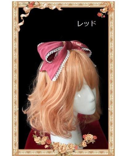 ロリータ リボンカチューシャ3色 レッド ネイビー ピンク レース かわいい ヘアアクセサリ 人気 トレンド カジュアル 小物 ファッション