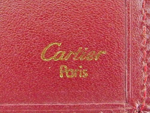 fcee34798ac0 【中古】 カルティエ Cartier 手帳カバー 長札入れ レディース メンズ マストライン ボルドー ゴールド レザー