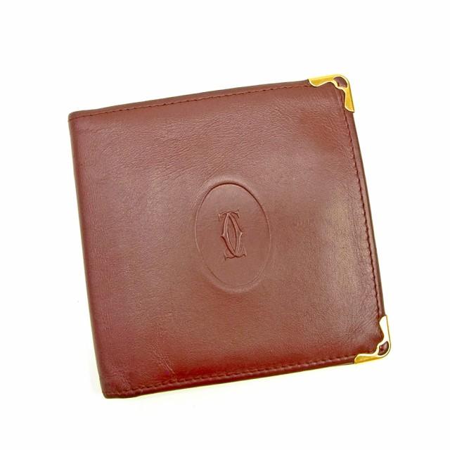 9e79e74c48bb カルティエ Cartier 二つ折り 財布 小物 財布 サイフ レディース メンズ 可 マストライン 【中古】
