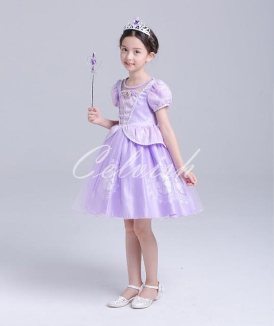 bf839a5dd7448 送料無料 ソフィア風ドレス プリンセスドレス 子供 ドレス 衣装 ディズニー 110~150 C-