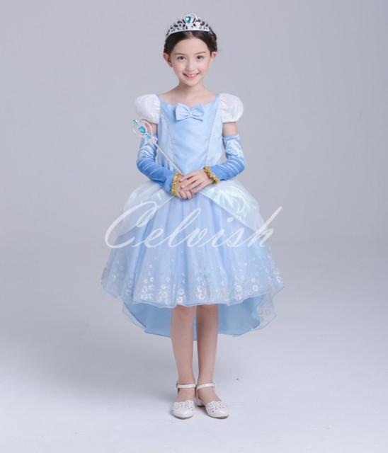 9bd75724c55d8 送料無料 シンデレラ風ドレス・トレーン型 プリンセスドレス 子供 ドレス 衣装 ディズニー 110~