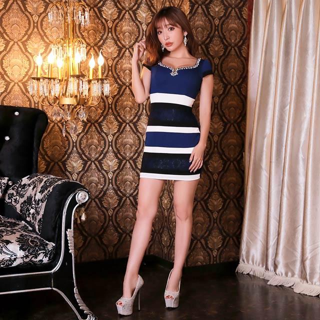 65e460140f643 ドレス キャバ ワンピース 大きいサイズ SMLサイズ レースボーダータイトミニドレス キャバドレス 1 23