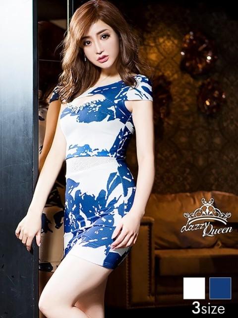 181ebec4d3696 ドレス キャバ ワンピース 大きいサイズ SMLサイズ 谷間ホールウエスト透け見せレース大花柄