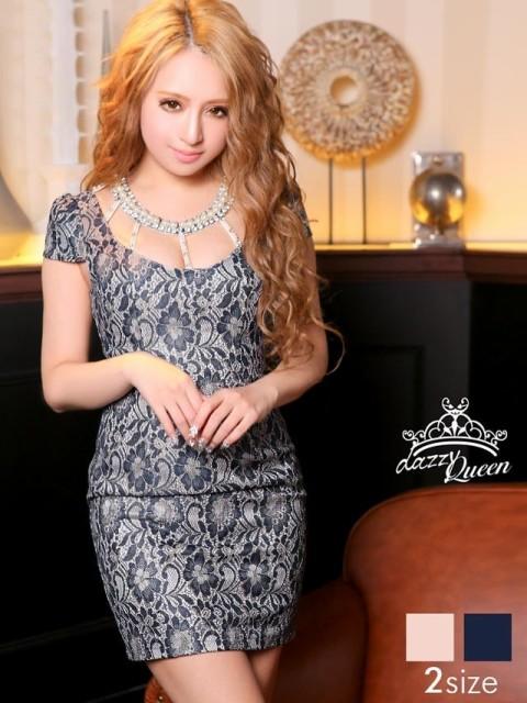 ドレス キャバ ワンピース S/Mサイズ 花柄総レースラダーカットタイトミニドレス キャバドレス
