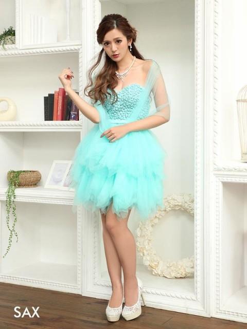 ドレス キャバ ワンピース SM/Mサイズ ビジューチュールベアミニドレス キャバドレス