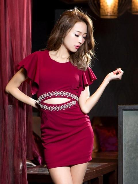 ドレス キャバ ワンピース SM/Mサイズ ウエスト見せフレアスリーブタイトミニドレス キャバドレス