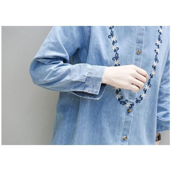 トップス シャツ ロング丈 デニム 刺繍 長袖 大きいサイズ おでかけ カジュアル 秋 冬 春 レディース