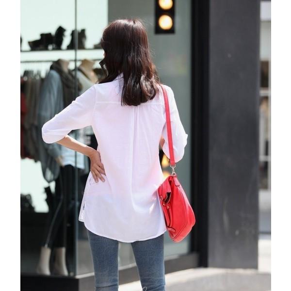 トップス シャツ ブラウス 7分袖 プルオーバー スキッパーシャツ 無地 シンプル きれいめ 大人 大き目サイズあり