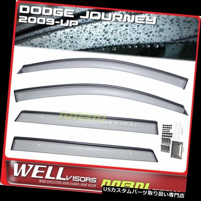 Wellvisors For Dodge Journey 09-18 Black Trim Side Window Visor Rain Guard Set