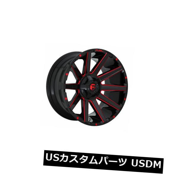 【逸品】 ホイール 4本セット 4 x 22x12 Fuel D643 Contra ET -44 Black Red 8x165.1 Wheels, 豊田村 d00ef77b