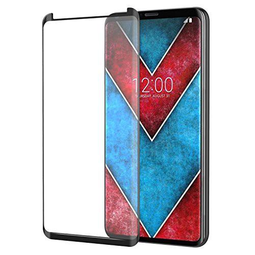 LG V30 フィルム - ATiC LG V30 2017用液晶保護強化ガラスフィルム 3D曲面デザイン 表面硬度9H/耐衝撃/高透明度/指紋防止/気泡ゼロ BLACK