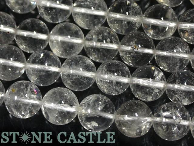 天然石 ビーズ【丸ビーズ】アメリカニューヨーク産 ハーキマーダイヤモンド 12mm (半連 ブレスレット約1本分) パワーストーン