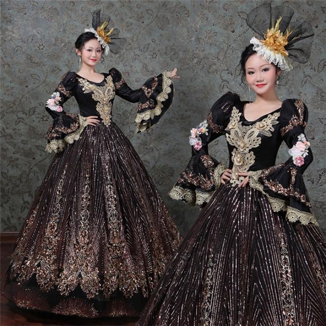 036c81c5c7a9d 紺 ドレス オペラ声楽 中世貴族風豪華お姫様ドレス 舞台衣装やステージ ...