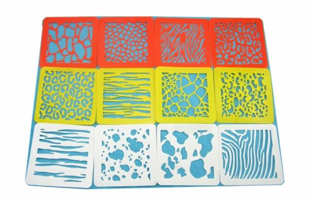 いろいろな模様 を楽しめる ステンシルシート 16種 セット 幼児教育 用 絵画 模写 テンプレート 文房具ctr-h80【1~2日発送】