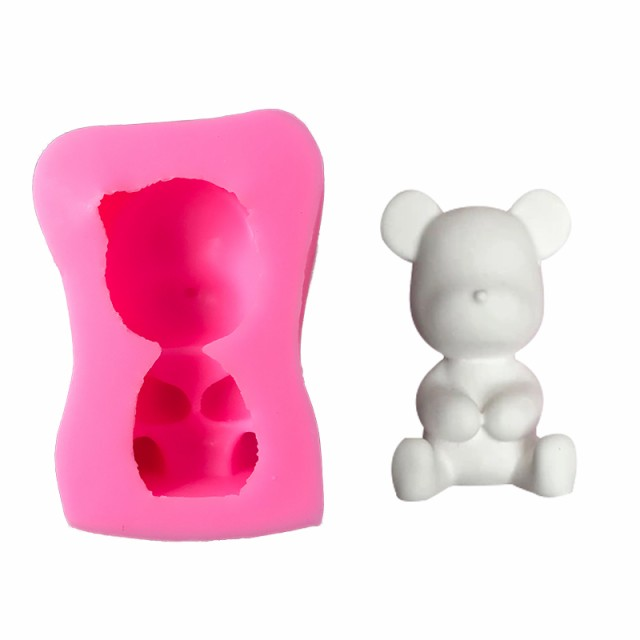 熊 2個セット クマ シンプル シリコン モールド レジン アロマストーン 手作り  粘土 型 抜き型  mmk-j98【1~2日発送】