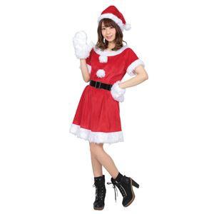 〔クリスマスコスプレ 衣装〕 カラフルサンタ レディース レッド