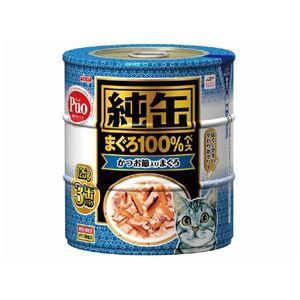 (まとめ)アイシア 純缶 かつお節入りまぐろ125g×3P 〔猫用・フード〕〔ペット用品〕〔×18セット〕