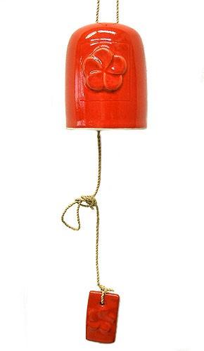タバナン焼 プルメリアの風鈴 ドアチャイム 赤 バリ雑貨 アジアン雑貨 インテリア タバナン 陶器 風鈴 レッド