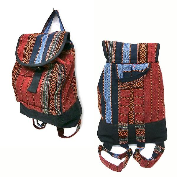 布製 ジャガード織り ディパック ナップザック G アジアン雑貨 タイ雑貨 ファッション バッグ リュック リュックサック