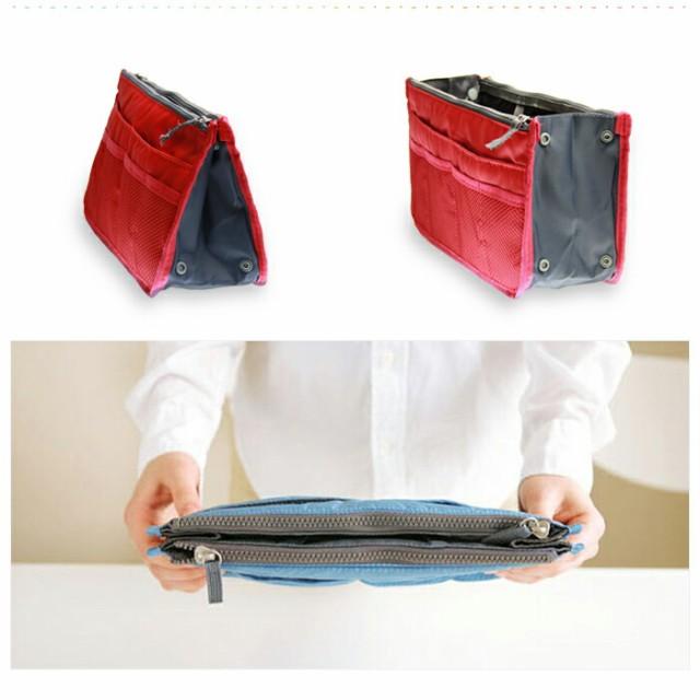 【レビューで送料無料】 バッグインバッグ 大きめ コスメポーチ インナーバッグ ミニトート レディース ファスナー(12colors) バッグ・