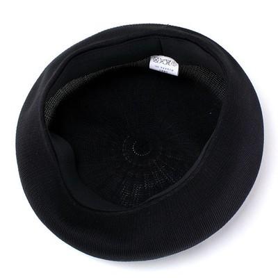 ベレー帽 春 夏 帽子 レディース 大きめゆったりシルエット サマーニット 通気性抜群 日本製 ブラック