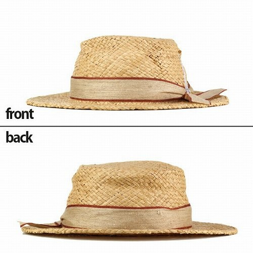 バラ色の帽子 エッフェル塔のくしゃカンカン帽 レディース ばら色 ハット 帽子 カンカン帽 ラフィア Barairo no boushi 茶 ブラウン