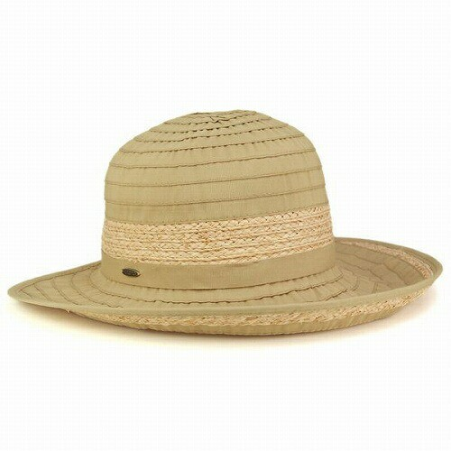 ハット レディース 帽子 つば広 ラフィア リボン CRUSHER スカラ ドーフマン 紫外線対策 アウトドア タン ベージュ