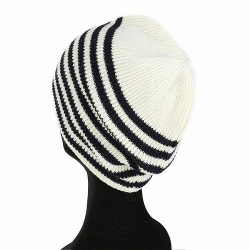 LACOSTE ラコステ ボーダー柄 ニット帽 ニットワッチ メンズ レディース 帽子 オフホワイト