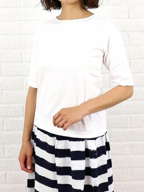 Dana Faneuil(ダナファヌル) コットン ムラ糸 ボートネック 5分袖  カットソー・D-5311204 のカラー画像