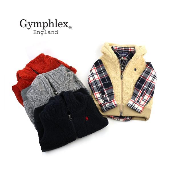 【JP】Gymphlex(ジムフレックス) ポリエステル ボアキッズ ジップアップ フードベスト・J-0864PL・0321602