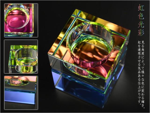 レインボーに輝くおしゃれなキューブ型【クリスタル仏具:スクウェア 虹色光彩 5具足セット】化粧箱入り 仏壇仏具 送料無料