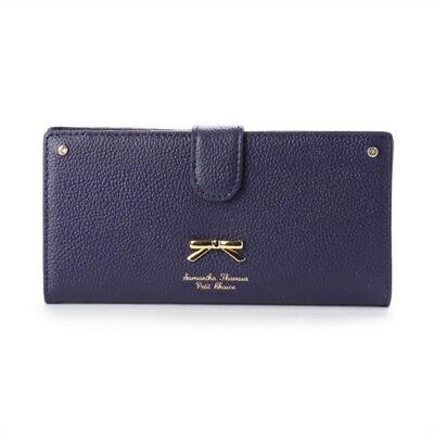 サマンサタバサ プチチョイス 正規品 シンプルリボンプレート シュリンクレザーバージョン 薄型長財布 ネイビー