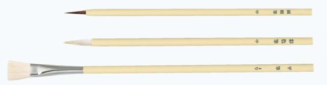 白軸デザイン筆 3本組(溝引棒無し)