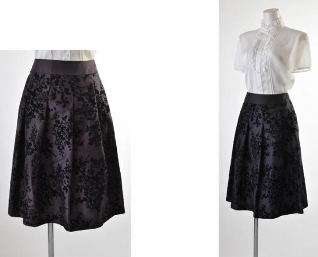 【送料無料】【9号~15号】【ウエスト67cm/70cm/73cm/76cm】人気のソフトシャンタン×フロッキーふんわりスカート 着回せるスカート