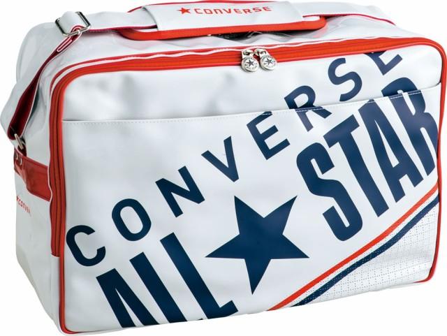 エナメルバッグ コンバース ショルダーバッグ Lサイズ CONVERSE C1612052 オールスター ロゴ ホワイト×ネイビー 1129