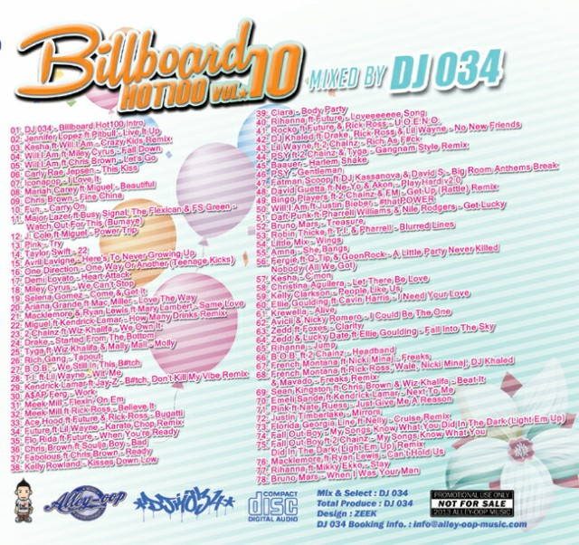 VOL.10 流行ってる曲オンリー78曲 DJ034 MIX CD ビルボード HOT100 全米チャートにランクインしたハズ
