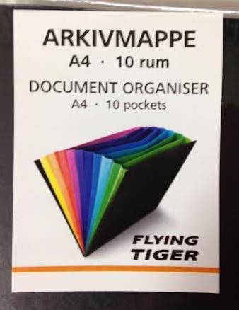 Flying Tiger Copenhagen(フライング タイガーコペンハーゲン )書類ファイルA4★10ポケットドキメントケースタイガーコペンハーゲン TIGE