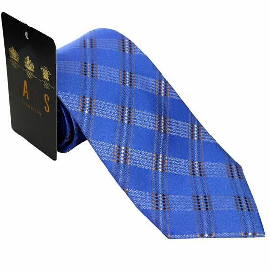 DAKS ダックス ネクタイ d11031color3 ブルー系 約8cm チェック柄 ブランド ビジネス