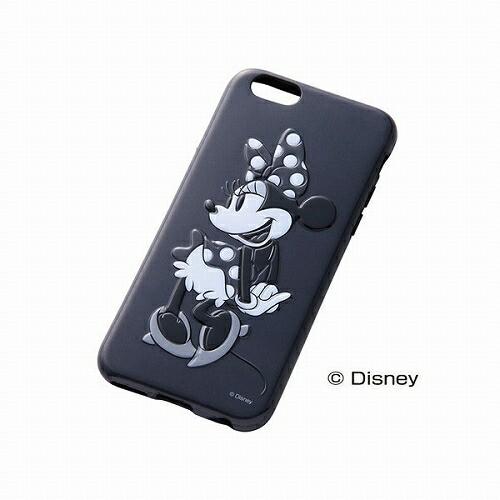 レイアウト iPhone 6(アイフォン 6)用カバー ディズニー・3Dレリーフ・ソフトジャケット(モノクロ) ミニー RT-DP7M/MN