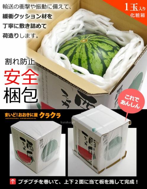 大玉スイカ1玉箱の安全梱包イメージ