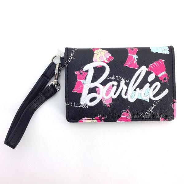 新生活 プレゼント バービー 二つ折りパスケース BK ドレス Barbie パスケース ブラック