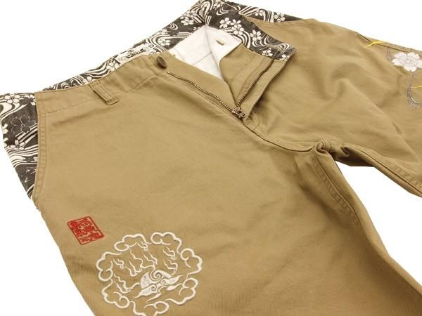 絡繰魂 チノショーツ 桜刺繍 メンズ 和柄 ショートパンツ 232259