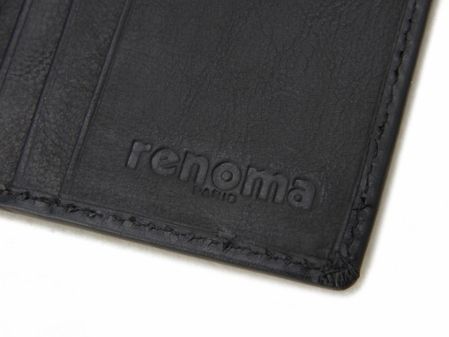 renoma レノマ パスケース 9007 001 メンズ 牛革 レザー IDカードケース ブラック【送料無料】