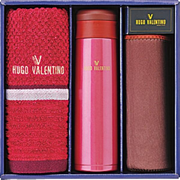 ヒューゴ ヴァレンティノ マグ&フェイスタオルセット レッド HV-145