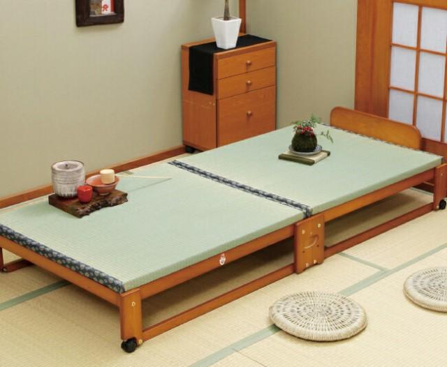ベッド 中居木工 らくらく 折りたたみ式 畳ベッド シングル 日本製 桧