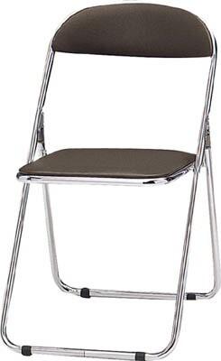 TOKIO パイプ椅子 シリンダ機能付 スチールメッキパイプ ブラウン【CF-100M BR】(オフィス家具・会議用チェア)