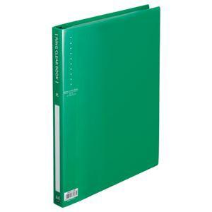 (まとめ) TANOSEE リングクリヤーブック(クリアブック) A4タテ 30穴 10ポケット付属 背幅25mm グリーン 1冊 【×10セット】