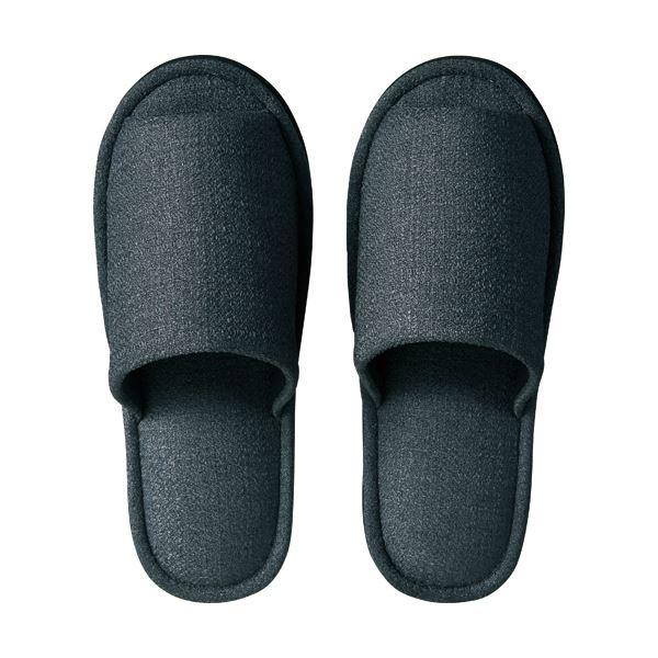 (まとめ) TANOSEE 外縫いスリッパ ブッチャー 大きめL チャコール 1足 【×5セット】
