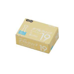 (まとめ) TANOSEE ダブルクリップ 小 口幅19mm ペールブルー 1箱(10個) 【×60セット】